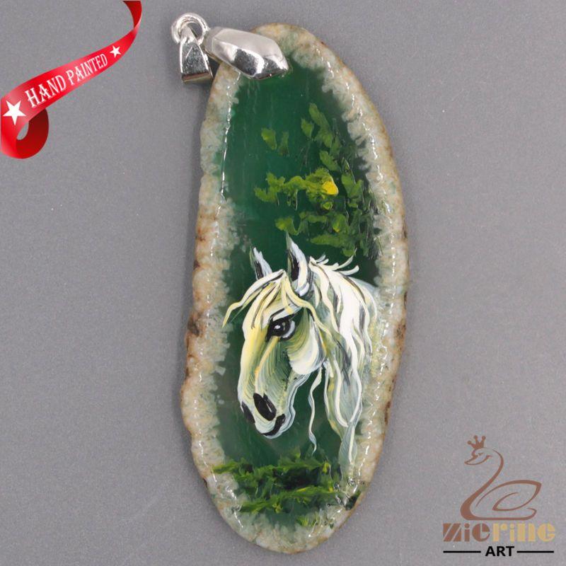 PRETTY HAND PAINTED HORSE GEMSTONE AGATE DIY NECKLACE PENDANT BEAD ZL8012514 #ZL #PENDANT