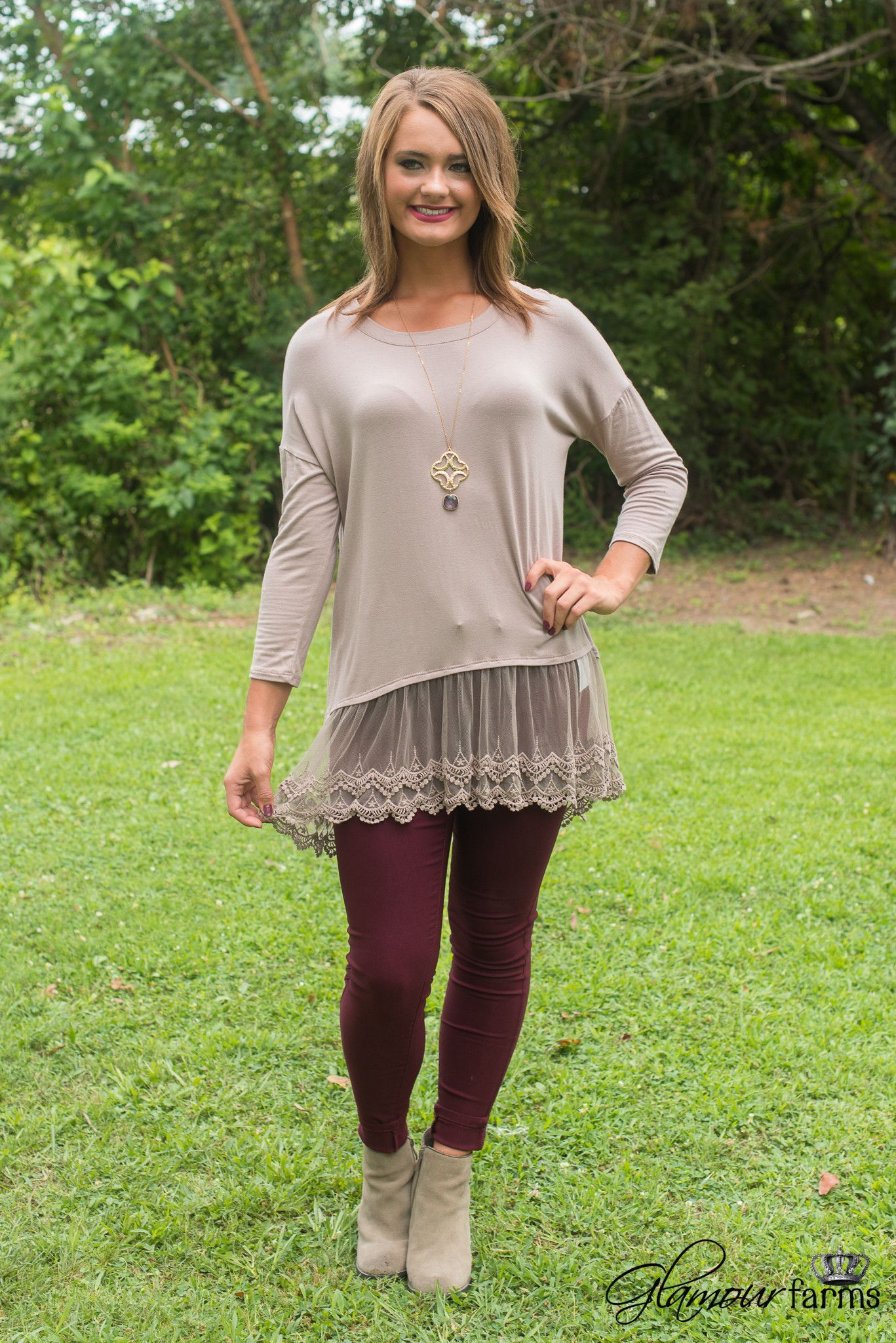 Carolina Lace Tunic is simplicity and elegance! This solid mocha tunic is made…                                                                                                                                                     More