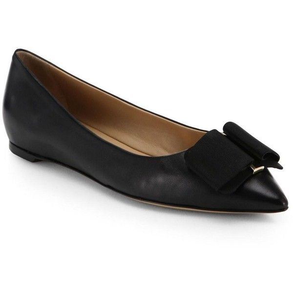 80a98cb6d55 Salvatore Ferragamo Mini Leather Point-Toe Ballet Flats (£470) ❤ liked on