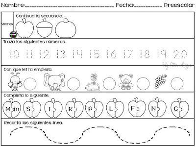 5 Hojas de trabajo para preescolar. ~ Educación Preescolar ...