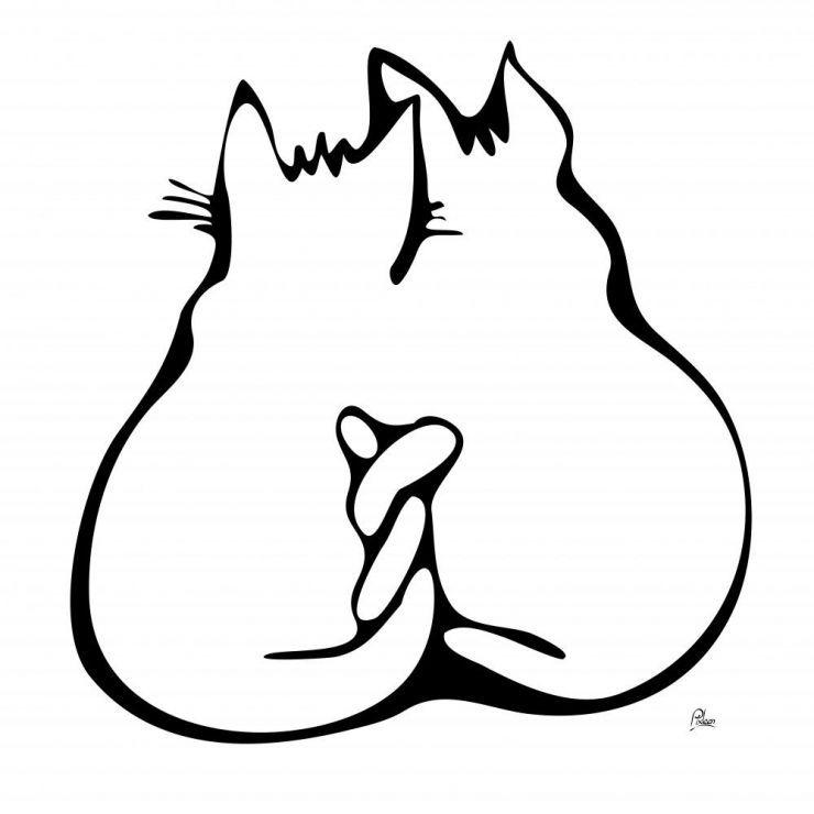 A chacun sa chacune dessin de chats amoureux en noir et - Dessins de chat ...