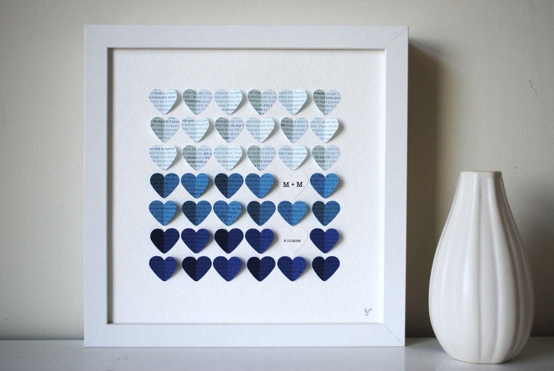 Lyric Wedding Gift Frame - 3D Song Hearts Framed Art Wedding or Anniversary - Blue Color Fade (Unique wedding or anniversary present). $75.00, via Etsy.