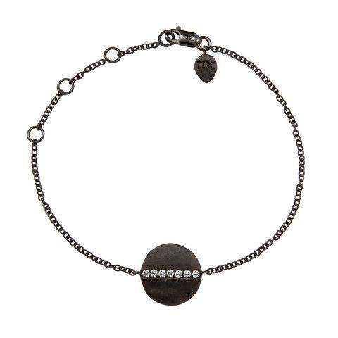 Meira T Black Rhodium Hammered Diamond Bracelet