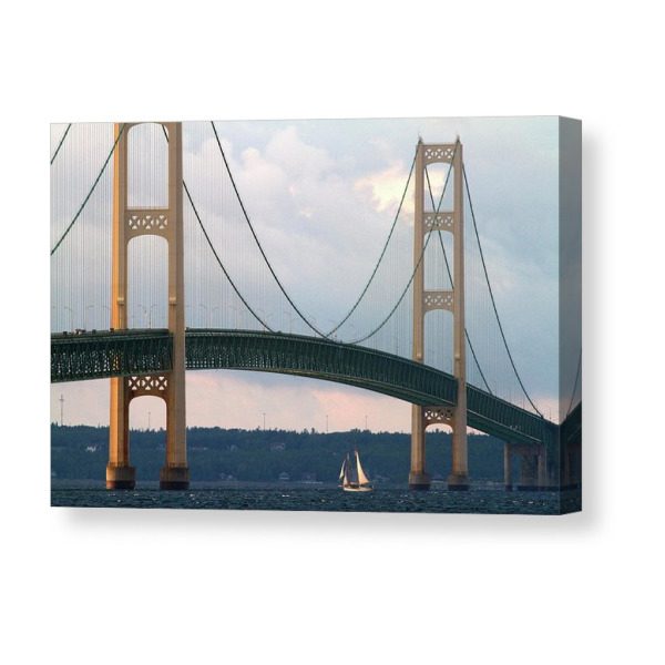 MI Lake Huron Sunset Great Lakes Mackinac Bridge Michigan Modern Postcard