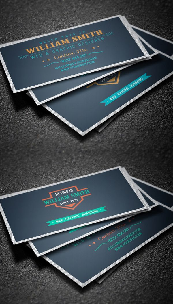 Retro Business Card Template Business Card Designs Pinterest