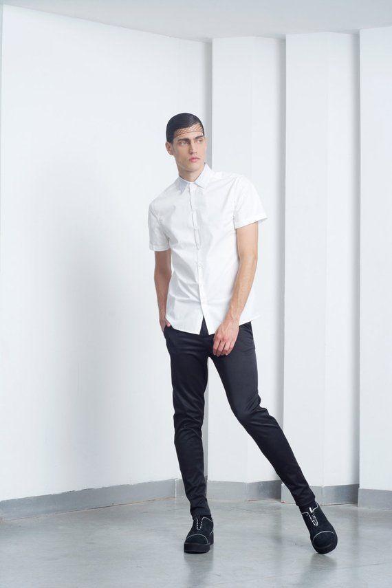 Mens Shirt Mens White Short Sleeve Dress Shirt Button Up Shirt