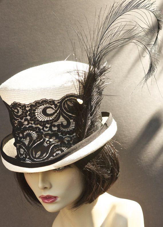 Black and White KENTUCKY DERBY Hat. One Of A Kind. Top Hat Mad Hatter. ASCOT…