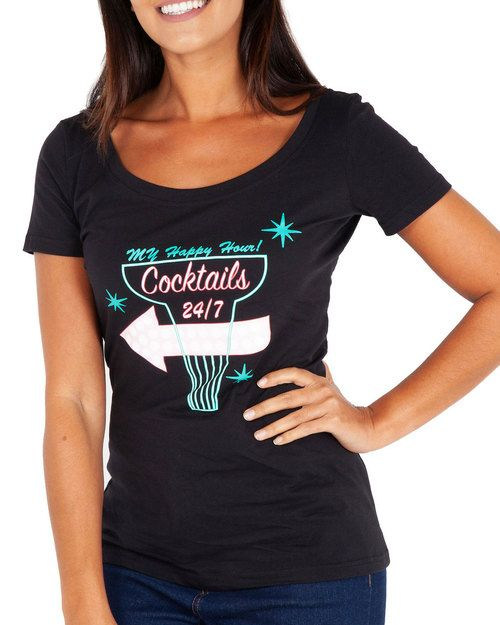 a4adb3076b182 Voodoo Vixen 24 Hour Cocktails Scoop Neck Graphic Tee