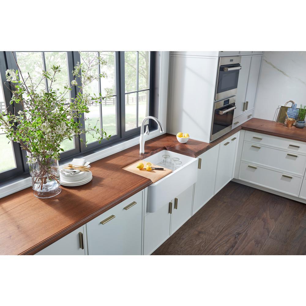 Blanco Ikon Farmhouse Apron Front Granite Composite 33 In Single Bowl Kitchen Sink White 401899 The Home Depot Sinks Concepts