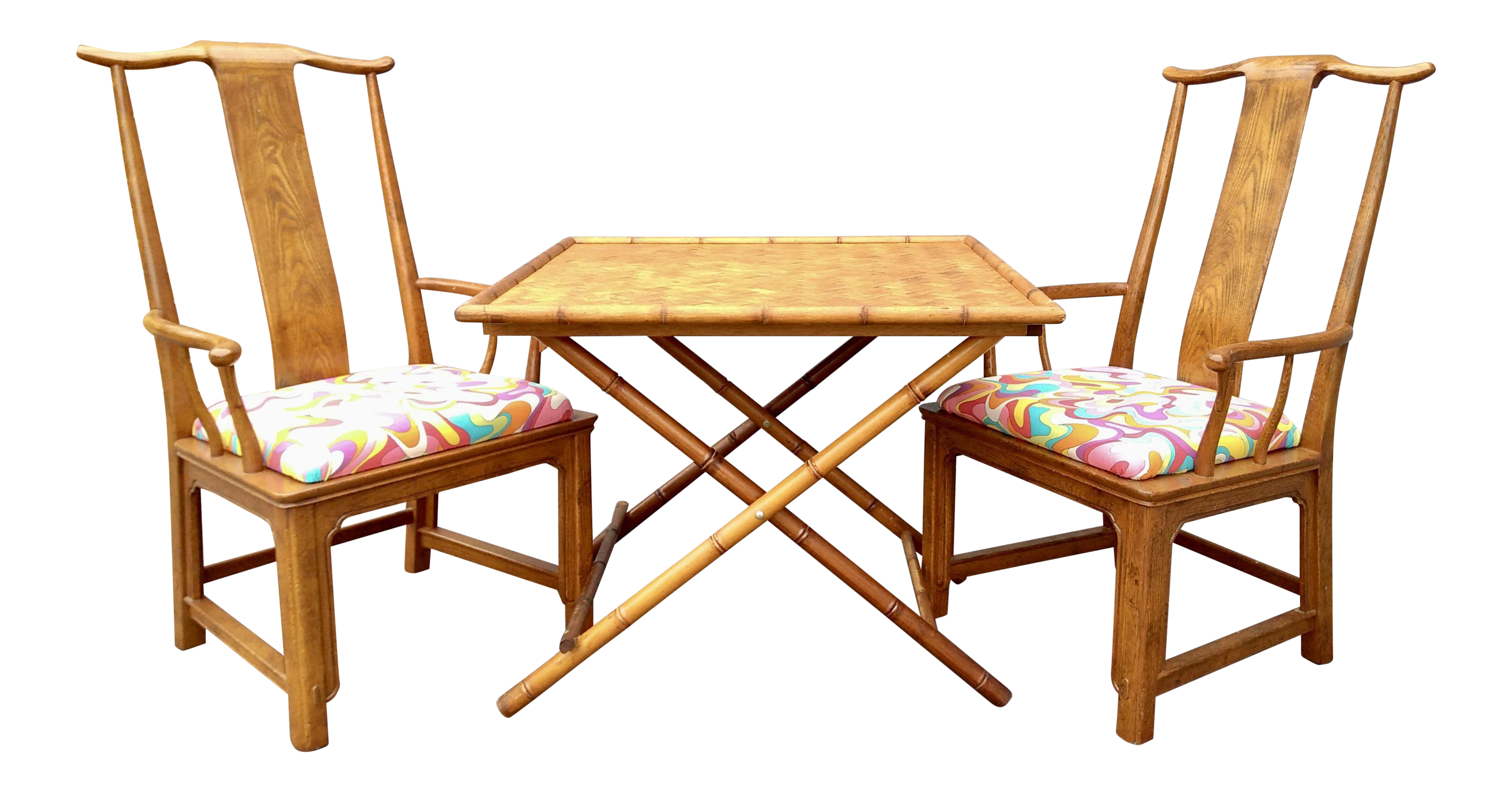 Folding Bamboo Table & Chinoiserie Chairs Set of 3
