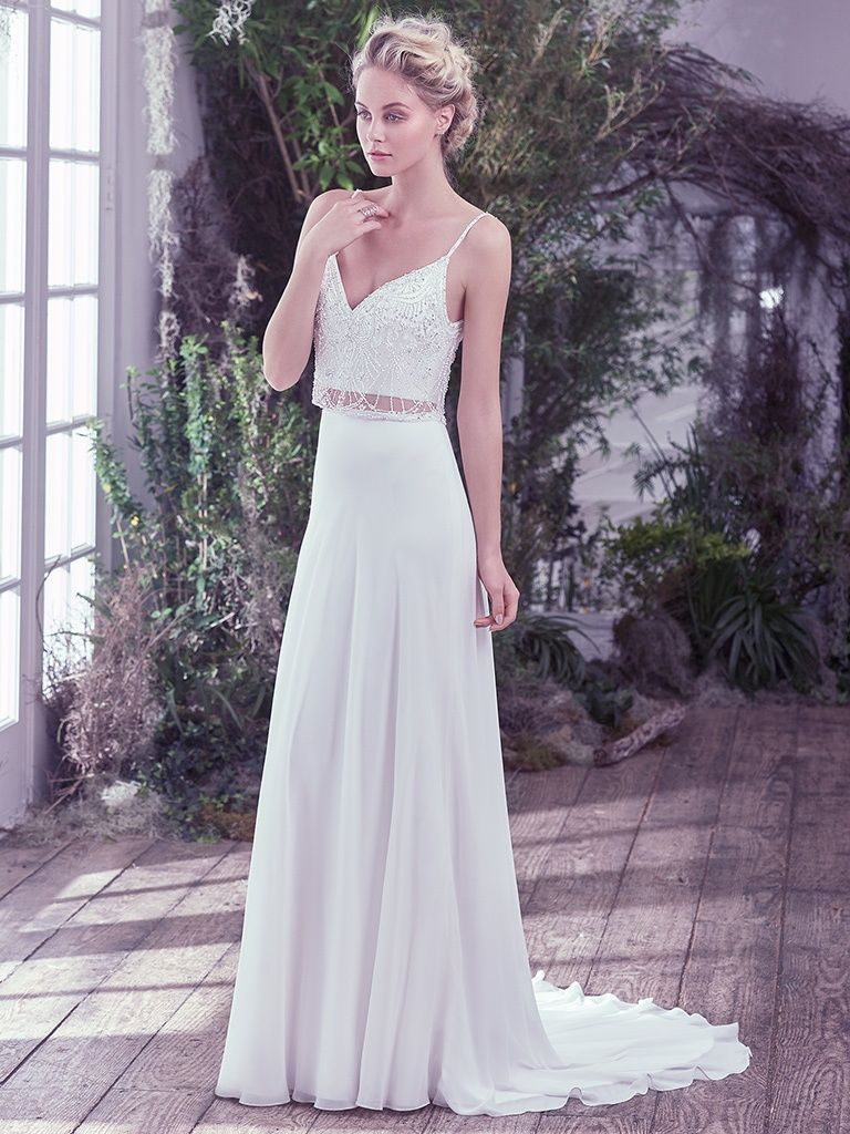 31d0b33901a92 The Best Slip Dresses for the Chic and Relaxed Bride. Griffyn by Maggie  Sottero features effortlessly chic, this Arlo chiffon and tulle two-piece  wedding ...