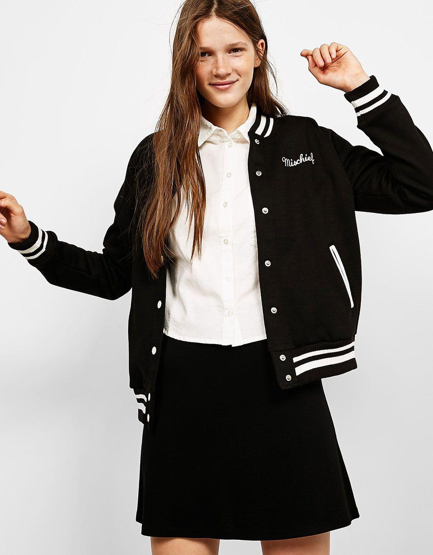 Baseball Bomber Jacket With Embroidery Coats And Jackets Bershka United Kingdom Jacket Outfit Women Fashion Hacks Clothes Jackets Men Fashion [ 1313 x 1024 Pixel ]