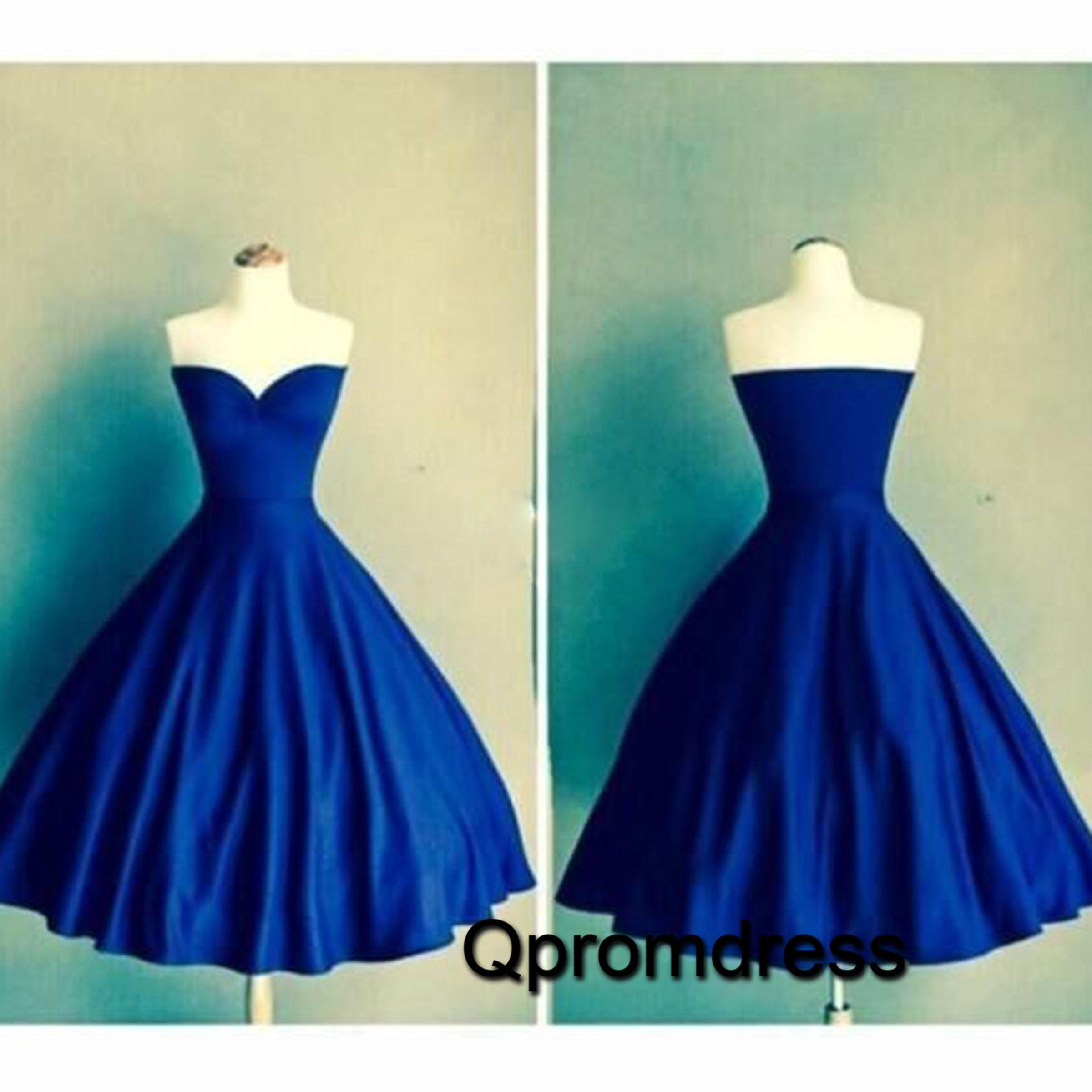 Cute navy blue satin sweetheart dress for prom bridal dress
