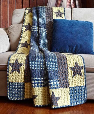 This Blue Homestead Patchwork Throw by Duke Imports, Inc. is perfect…