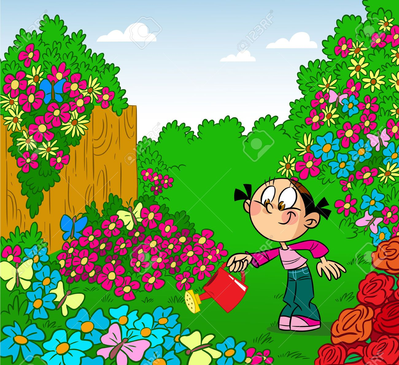 Chica riega las flores en la lata ilustraci n riego del for Dibujos de jardines