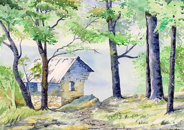 Shelter At Cranny Crow By Alina Kurbiel Landscape Paintings Watercolor Landscape Watercolor Paintings