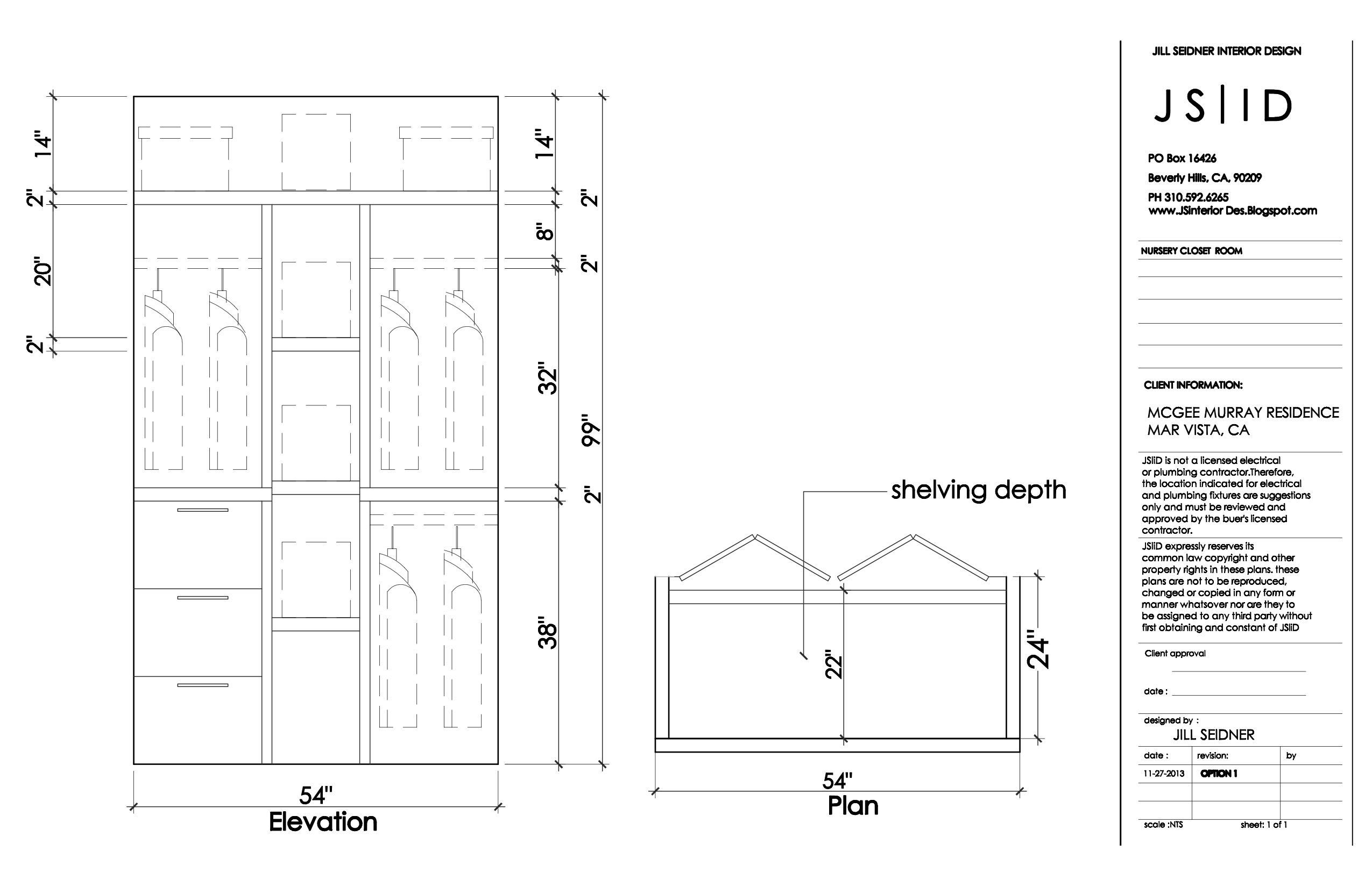 West La Ca Residence Nursery Closet Plan Elevation Drawing Option 1 Www