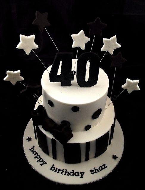 40th Birthday Cake Black White 40 Birthday Cakes 40 Birthday