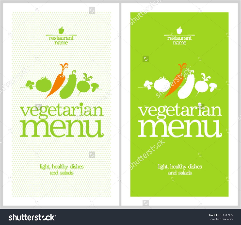 Restaurant Vegetarian Menu Cards Design Template. Stock Vector ...