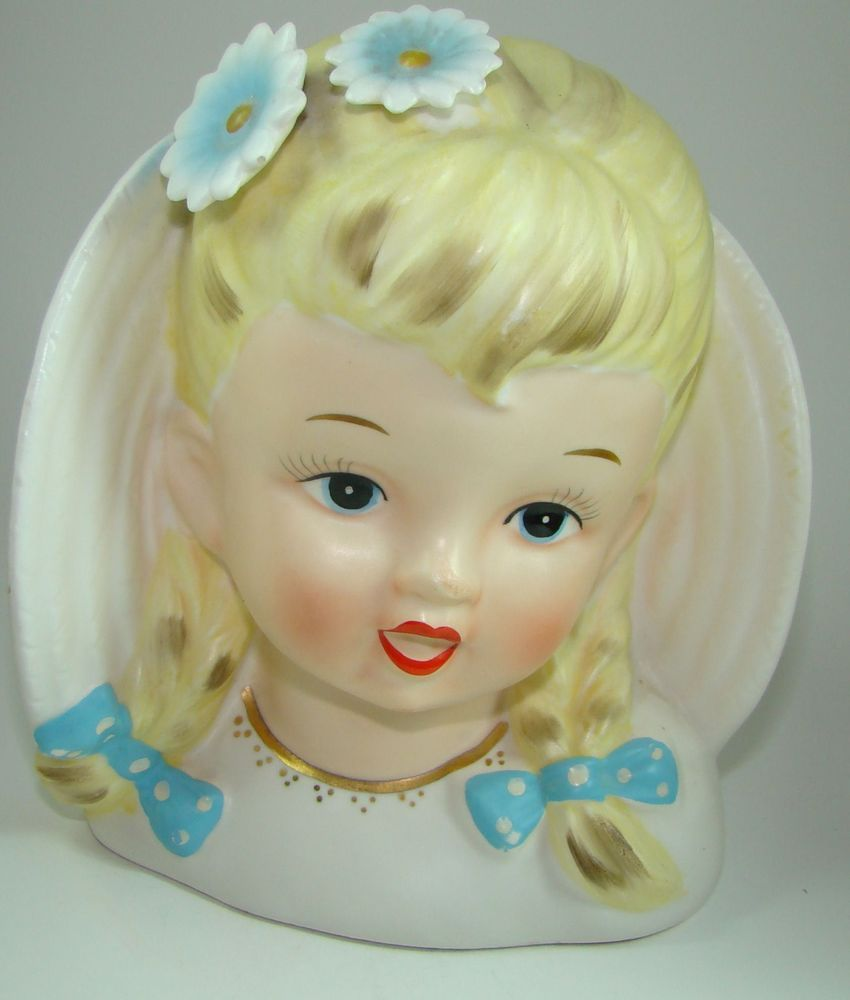 Vintage lady head vase planter little girl with pigtails and bows vintage lady head vase planter little girl with pigtails and bows inarco e 2183 reviewsmspy