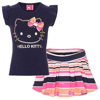 fdf37ec0e1c686 Conjunto Blusa E Shorts Saia Infantil Hello Kitty - 4 ao 8 - Marinho ...
