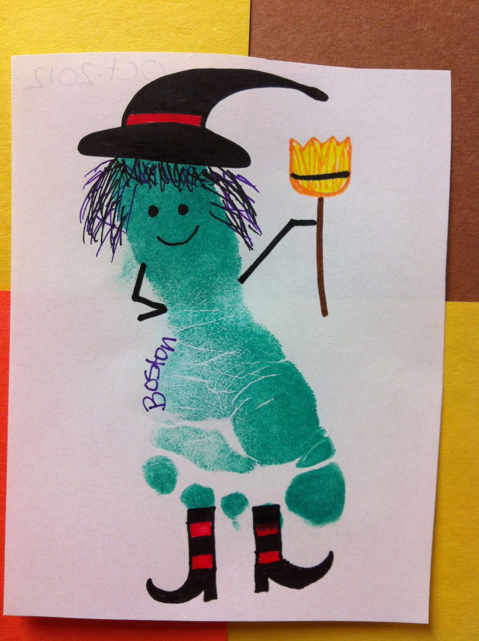 Halloween Witch Footprint Preschool Craft