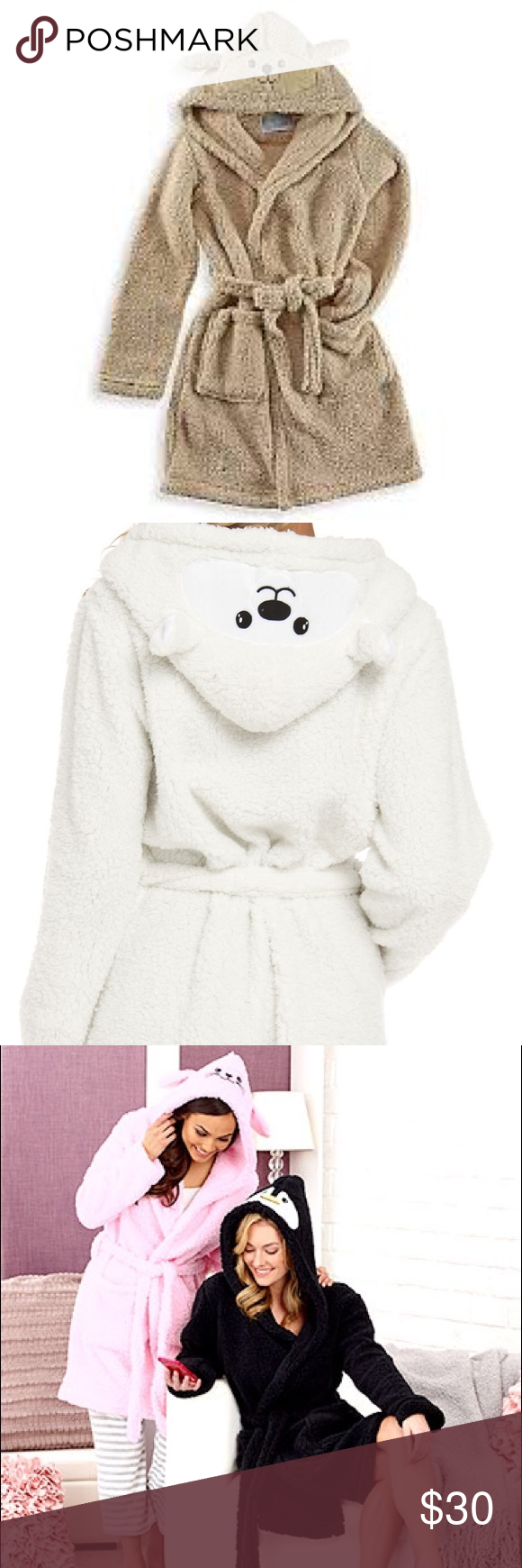 Tan puppy 🐶 cozy critters robe and white bear Brand new 1 tan puppy 🐶 and 1 white bear 1 black penguin cozy critters robes they are very soft and comfortable ✨ Other