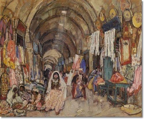 Leon Gaspard - Market Bazaar Baghdad Archival Fine Art Paper Print