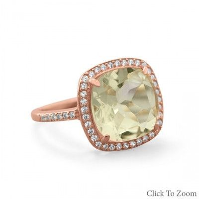 14K Rose Gold Plated Green Amethyst Ring