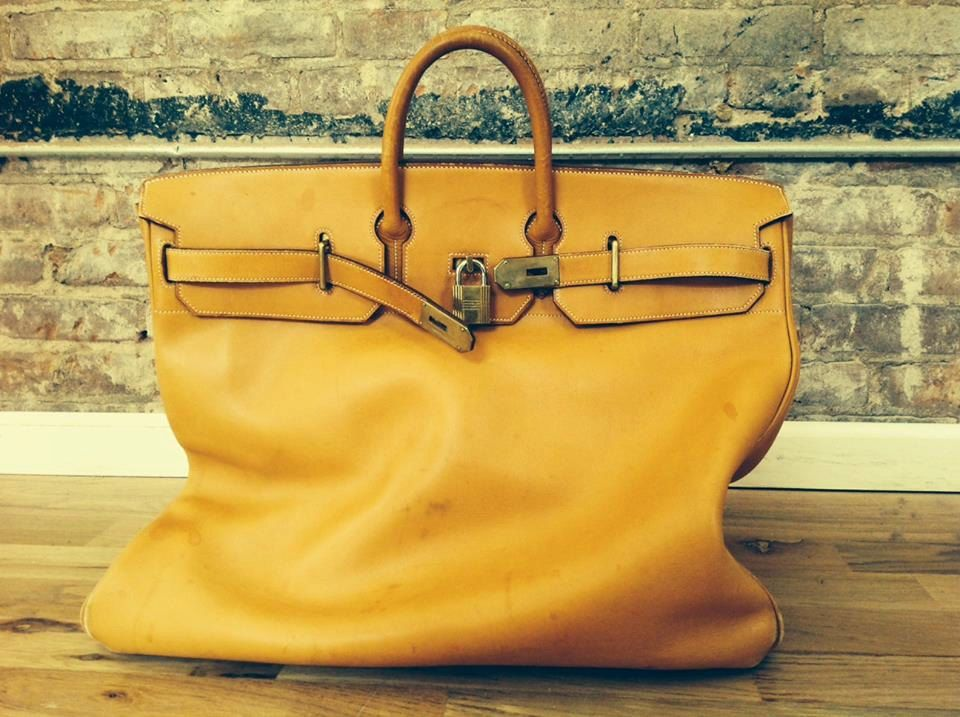 1d382d620b8a Hermès HAC 50cm Vache Natural Gold Birkin Vintage Luggage Bag Brass Lock  Keysale