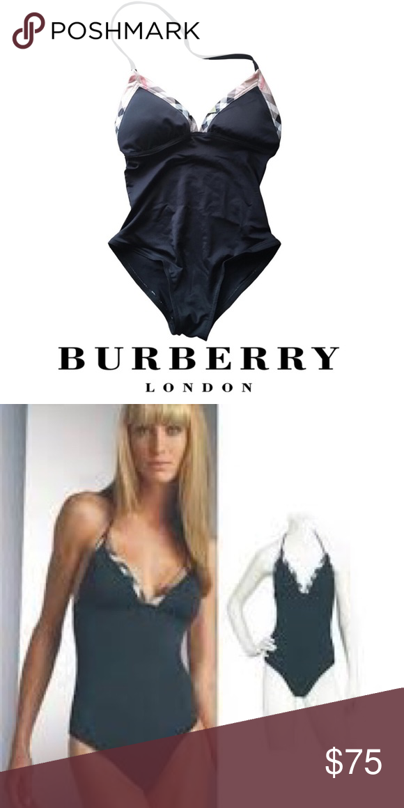 dfadf25f2ef Burberry Brit Halter Tie One-Piece Swimsuit Small Burberry Brit Plaid &  Black Halter Tie One Piece Swimsuit Gorgeous classic swim suit! Size Small  - fits 2, ...
