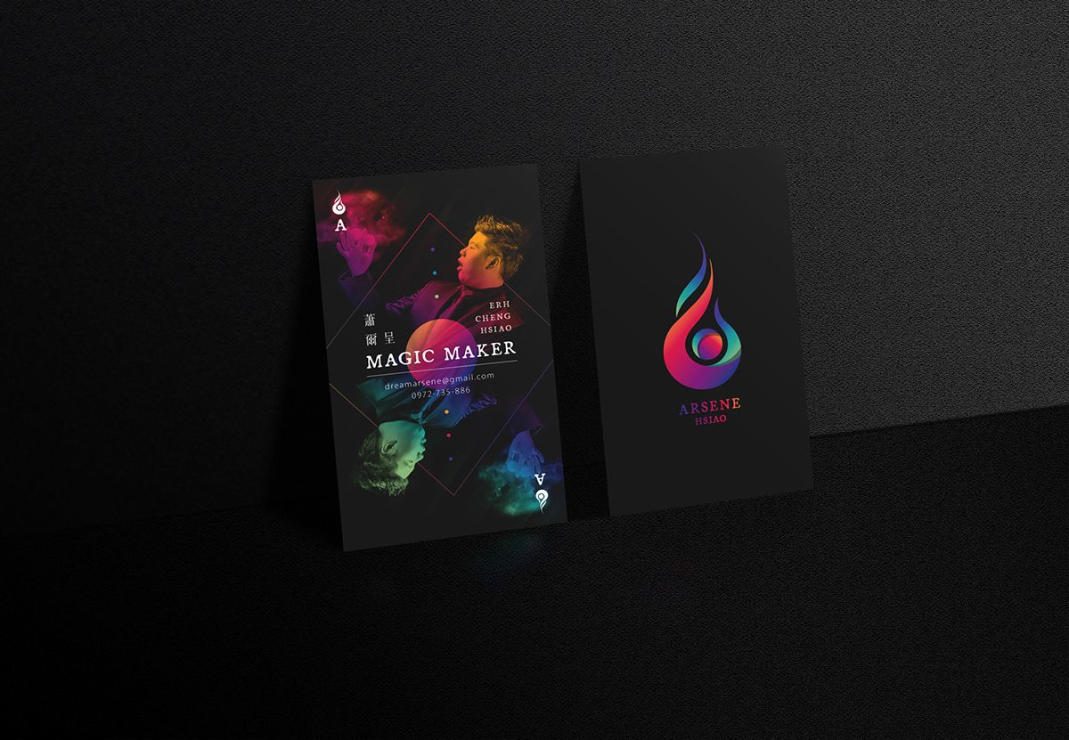 Magician\'s business card / Flare of magic, layout of poker cards ...