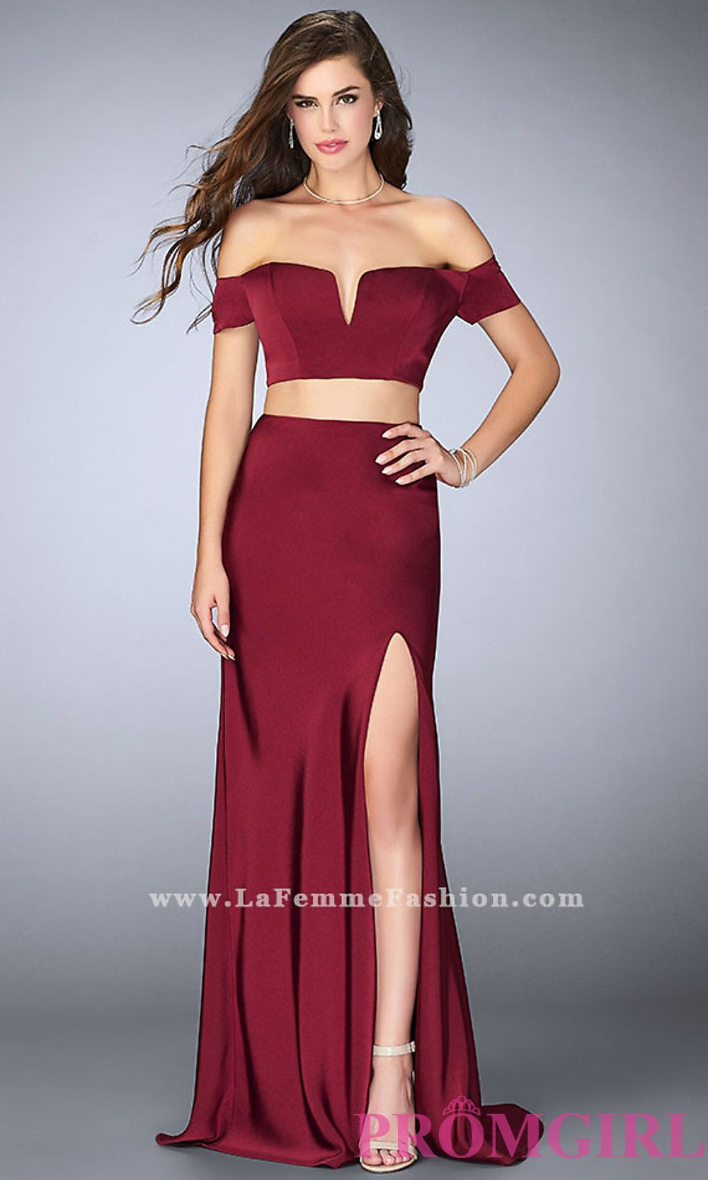 Long notched off the shoulder two piece prom dress by La Femme Style ...