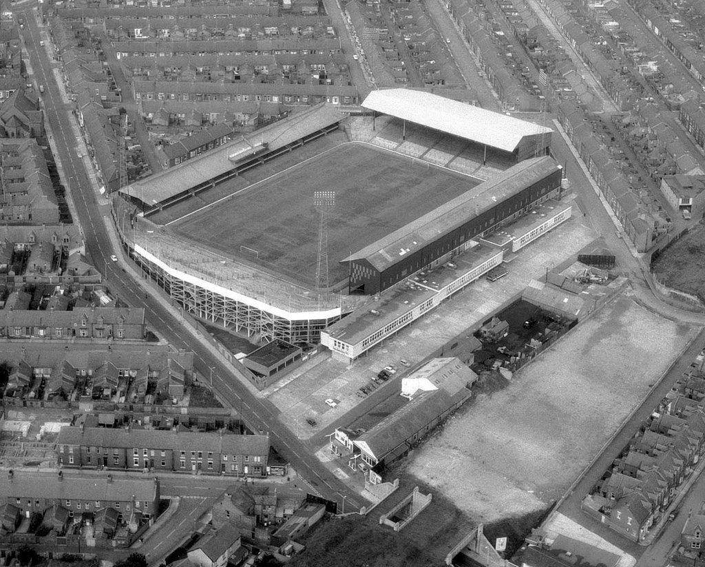 An aerial view of Roker Park football ground, Sunderland, August 1967 (TWAM  ref