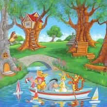 """""""Friends In The Wood"""" by Manuel Hernandez featuring Winnie the Pooh, Tigger, Piglet, Eeyore and Rabbit Size: 20 x 20 Fine Art Lithograph on Paper Limited Edition of 800 Unframed Comes with Certificate of Authenticity"""