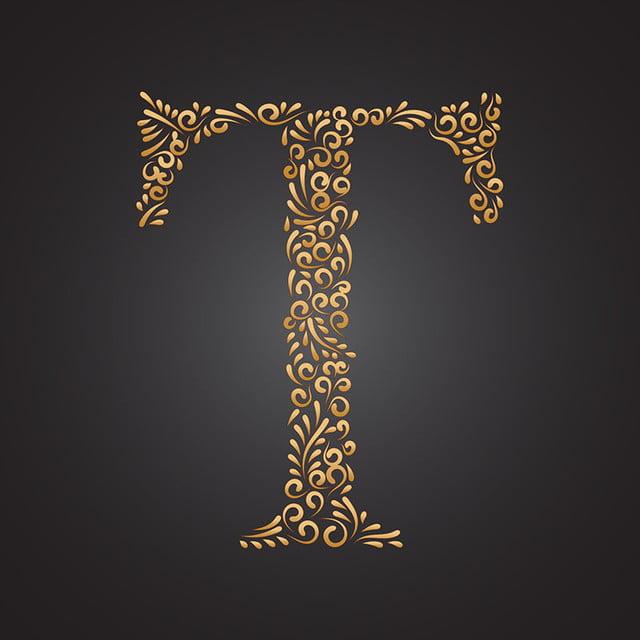 زهري ذهبي مزخرف حرف التاء Initial Fonts Lettering Alphabet Style