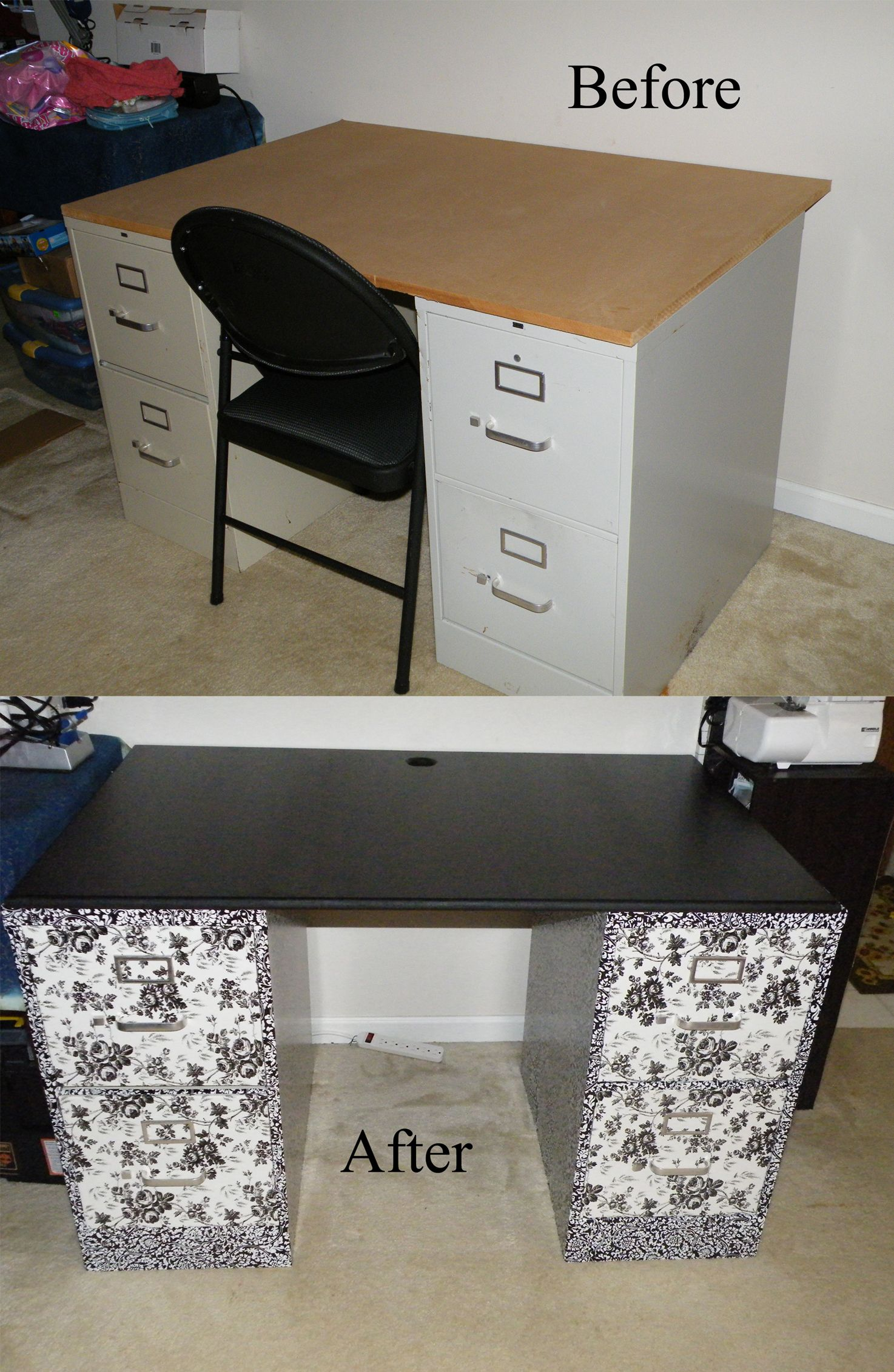 Sewing Desk DIY: 2 filing cabinets covered with contact ...