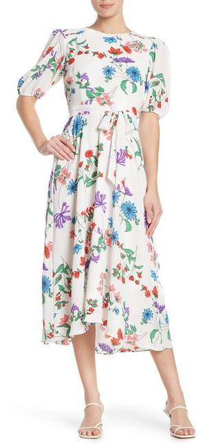 More Forties Inspired Flair: Donna Morgan Floral Bubble Sleeve Crepe High\\u002FLow