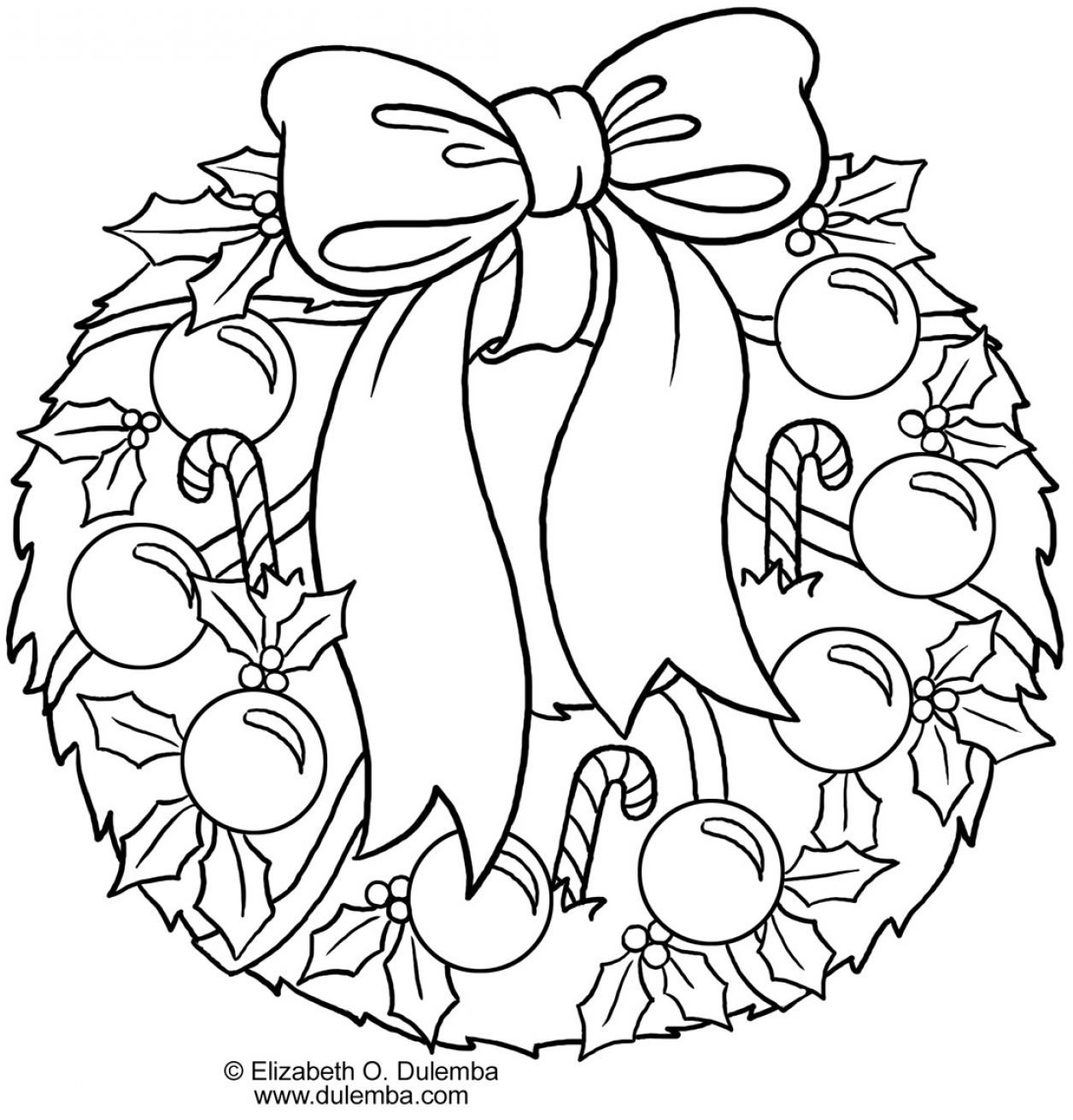 Coloring Pictures Of Christmas Wreaths 1 Jpg 1256 1311