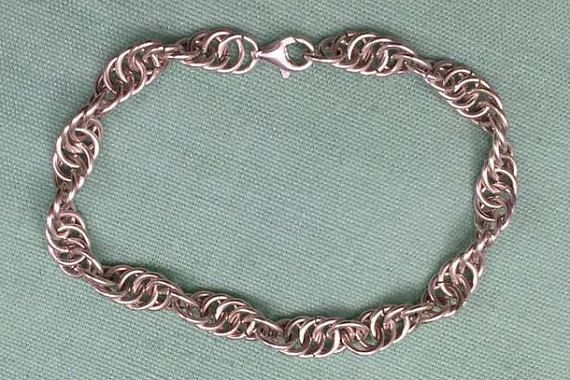 Chain Maille Bracelet - Sterling Silver - Serpentine Weave by MeleeTavern on Etsy