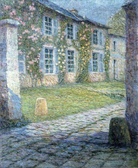 Henri Le Sidaner (French 1862-1939) - Thé Pink House ât Versailles, 1918.