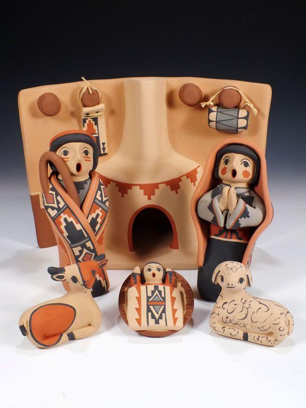Jemez Pueblo Pottery Nativity Scene By Linda Fragua