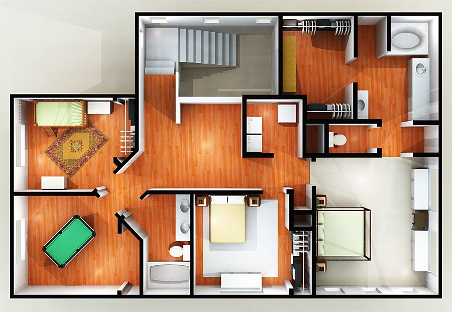 Modest 3d 2 Story Floor Plans On Apartments House
