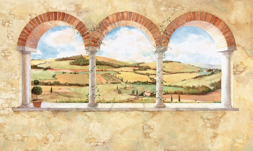 New XL Tuscan View Wall Mural Brick Arch Vineyard Countryside ...