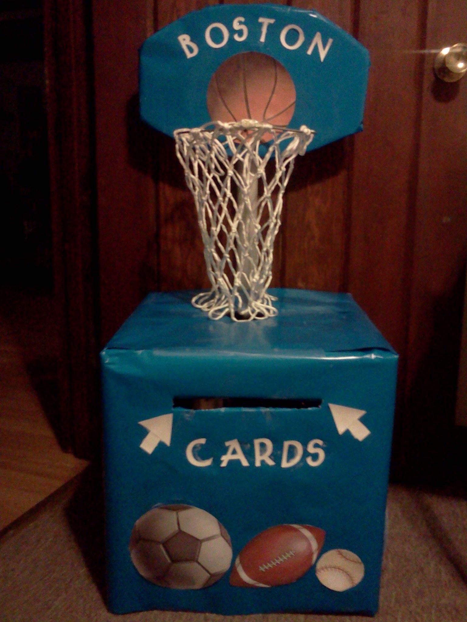 Boy Baby Shower Card Box Theme: Sports