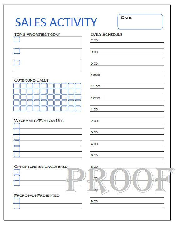 A Daily Planner Sheet For Anyone Who Is In Sales And Does Cold