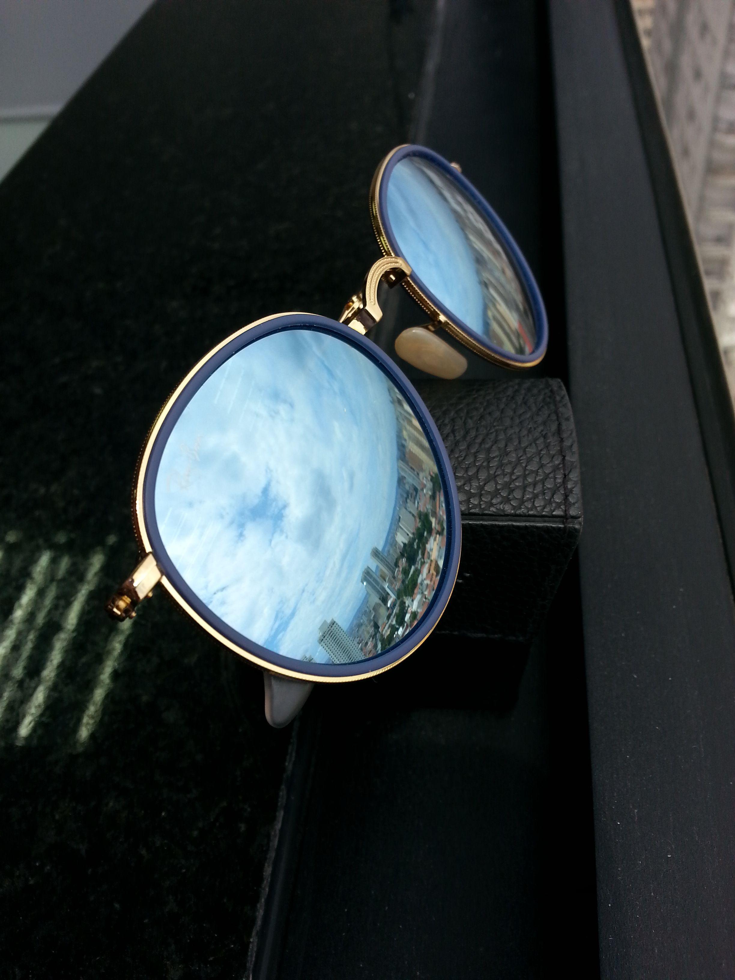 3cf2254b59813  oculos  de  sol  rb  redondo  azul  espelhado  lindo  luxo  verao  calor   praia  oticas  wanny  online  sunglasses