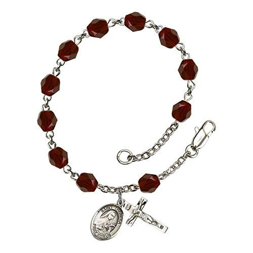 Silver Plate Rosary Bracelet 6mm January Red Fire Polished Beads, Crucifix Size 5/8 x 1/4, St. Theresa medal charm ** See this great product.