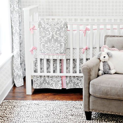 Damask! Gray White and Pink Damask Print Glam Baby Bedding from Posh Tots - Perfect for Baby Girls Nursury!
