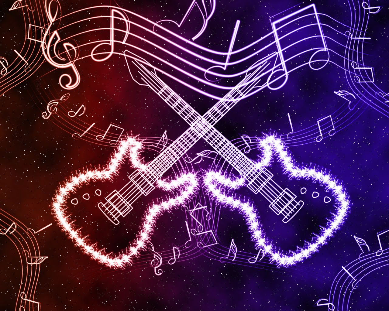 Neon Music Notes Background: Neon Guitar Effects By ~Culaki On
